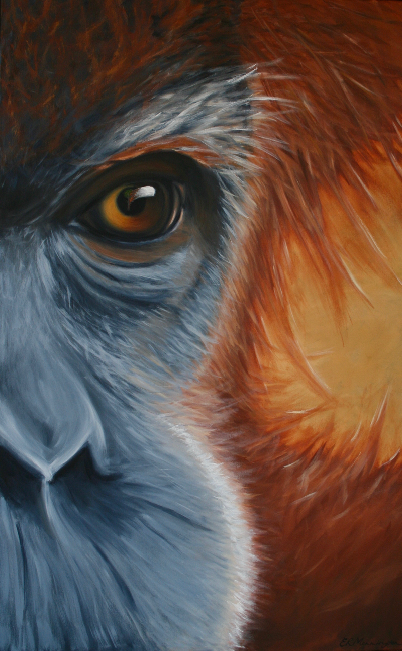 (CreativeWork) Inaction - Orangutan by Emily Monnington. arcylic-painting. Shop online at Bluethumb.