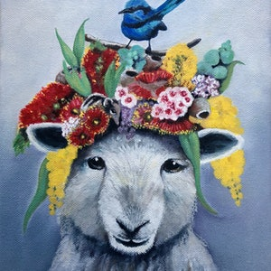 (CreativeWork) Spring Bonnet by Mia Laing. oil-painting. Shop online at Bluethumb.