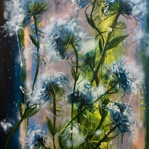 (CreativeWork) The Wildflowers Song (William Blake) by Louise Croese. arcylic-painting. Shop online at Bluethumb.