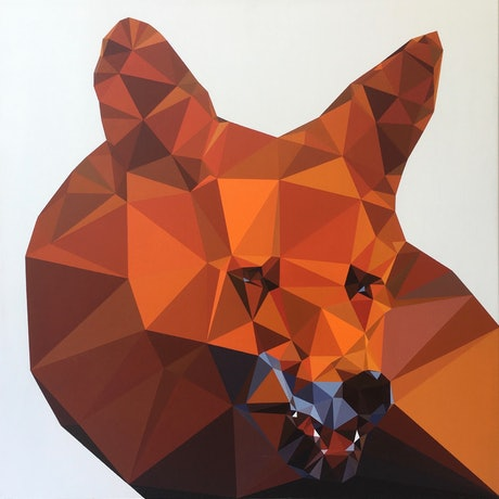(CreativeWork) smiling fox by John Cottrell. Acrylic Paint. Shop online at Bluethumb.