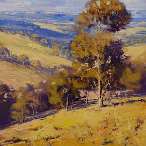 (CreativeWork) Dry summer Kanimbla valley, nsw by Graham Gercken. oil-painting. Shop online at Bluethumb.