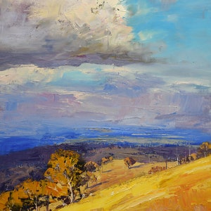 (CreativeWork) Clouds over the Kanimbla Valley, nsw by Graham Gercken. oil-painting. Shop online at Bluethumb.