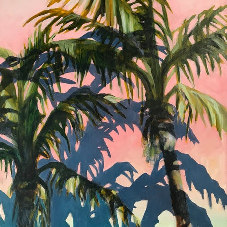 (CreativeWork) breezy palms by Petra Pinn. Oil Paint. Shop online at Bluethumb.