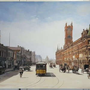 (CreativeWork) Old Melbourne in 1950 by Nudhi Perera. arcylic-painting. Shop online at Bluethumb.