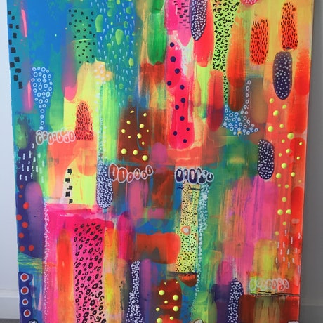(CreativeWork) Urban jungle by Clare Holland. Acrylic Paint. Shop online at Bluethumb.