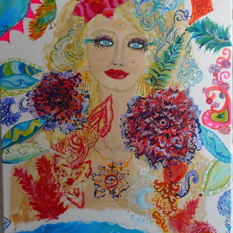 (CreativeWork) 'Goddess of the Sea' by Tessara Brown. Acrylic Paint. Shop online at Bluethumb.