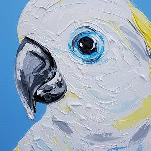(CreativeWork) Blue-eyed Cockatoo  by Lisa Fahey. arcylic-painting. Shop online at Bluethumb.