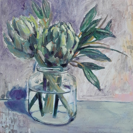 (CreativeWork) Artichokes In Jar by Kathleen Agius. Oil Paint. Shop online at Bluethumb.