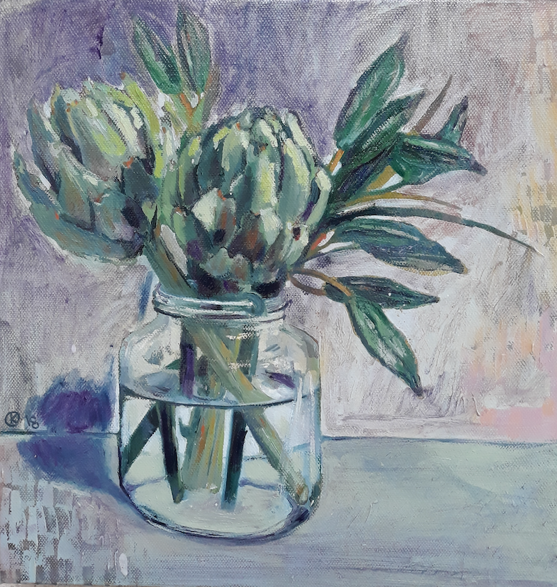 (CreativeWork) Artichokes In Jar by Kathleen Agius. #<Filter:0x000055ba690928f0>. Shop online at Bluethumb.