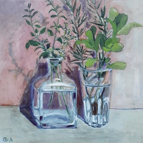 (CreativeWork) Herbs from The Garden by Kathleen Agius. Oil Paint. Shop online at Bluethumb.