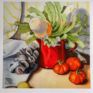 "(CreativeWork) ""Banksias and tomatoes""; giclee print of an original painting Ed. 2 of 20 by kirsty mcintyre. print. Shop online at Bluethumb."