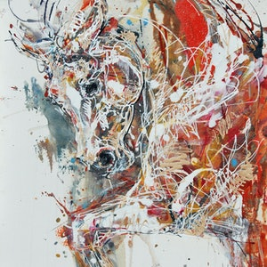 (CreativeWork) Golden Cob (Abstract Horse) by Nina Smart. mixed-media. Shop online at Bluethumb.