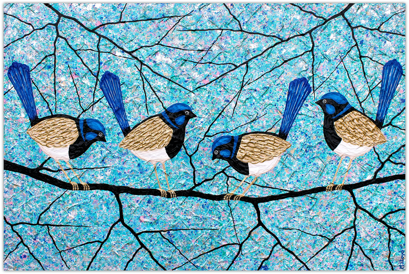 (CreativeWork) Blue Wrens (fairy wrens) by Miranda Lloyd. mixed-media. Shop online at Bluethumb.