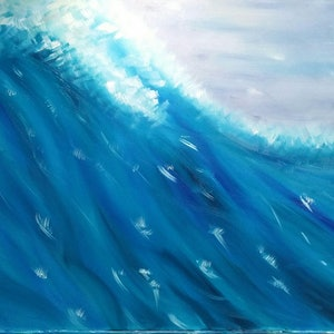 (CreativeWork) Surfers Delight by Sandra Messner. oil-painting. Shop online at Bluethumb.