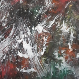 (CreativeWork) Flying feathers by Julie Cutts. arcylic-painting. Shop online at Bluethumb.
