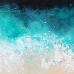 (CreativeWork) Green Seas by Sue Dyde. mixed-media. Shop online at Bluethumb.