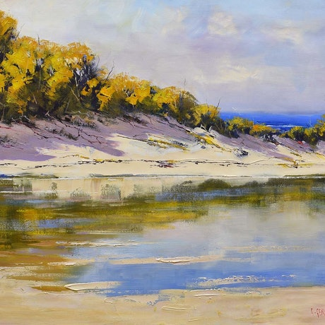 (CreativeWork) Great Ocean Rd Dunes, vic by Graham Gercken. Oil Paint. Shop online at Bluethumb.