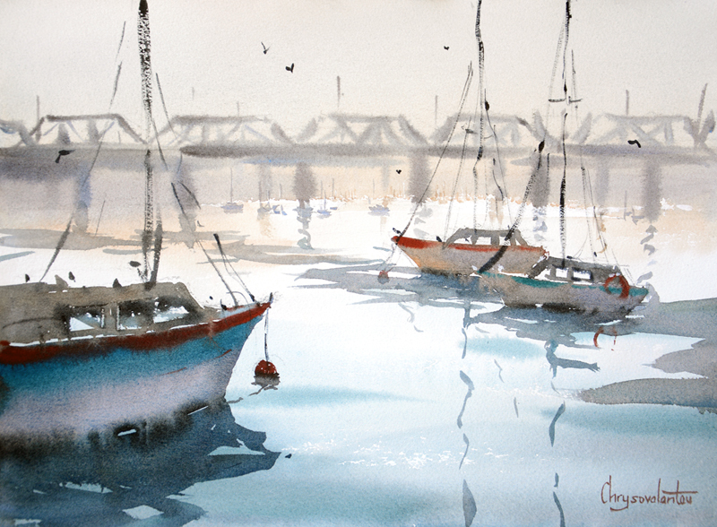 (CreativeWork) Looking towards the Iron Cove bridge by Chrysovalantou Mavroudis. Watercolour Paint. Shop online at Bluethumb.