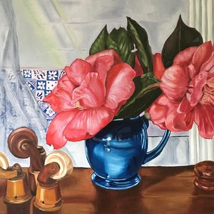 (CreativeWork) Camellias & Violin Case by Alicia Cornwell. oil-painting. Shop online at Bluethumb.
