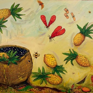 (CreativeWork) Pineapple Universe by Wendy Bache. arcylic-painting. Shop online at Bluethumb.