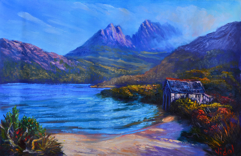 (CreativeWork) Near the summit of Cradle Mountain - Loose canvas by Christopher Vidal. oil-painting. Shop online at Bluethumb.