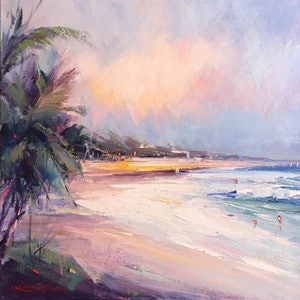 (CreativeWork) Noosa's Main beach #5 by Liliana Gigovic. oil-painting. Shop online at Bluethumb.