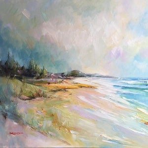 (CreativeWork) Sunshine beach by Liliana Gigovic. oil-painting. Shop online at Bluethumb.
