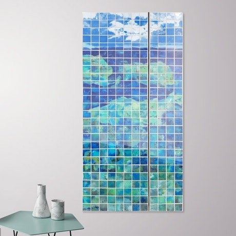 (CreativeWork) Whitsundays diptych  by Laurie Franklin. Mixed Media. Shop online at Bluethumb.