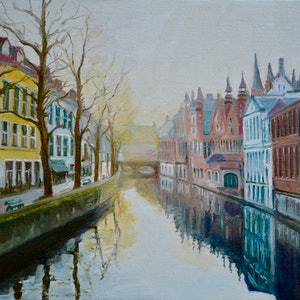 (CreativeWork) Bruges Winter Evening by Dai Wynn. oil-painting. Shop online at Bluethumb.
