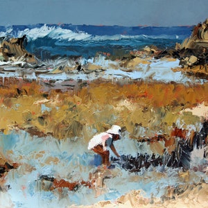 (CreativeWork) Rockpool Treasures by Claire McCall. oil-painting. Shop online at Bluethumb.