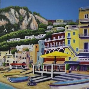 (CreativeWork) A quiet morning in Capri by Deb Clancy. arcylic-painting. Shop online at Bluethumb.