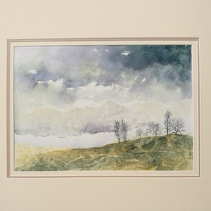 (CreativeWork) Winter Day on the Hill by Lucinda Leveille. watercolour. Shop online at Bluethumb.