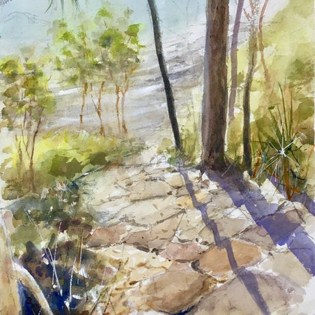 (CreativeWork) Coastal Path , Noosa National Park, Queensland by Geoff Stanistreet. Watercolour Paint. Shop online at Bluethumb.