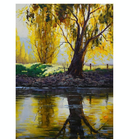 (CreativeWork) Tumut River  Bank by Graham Gercken. Oil Paint. Shop online at Bluethumb.
