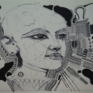 (CreativeWork) Young Tutankhamun by Jeremy Elkington. drawing. Shop online at Bluethumb.
