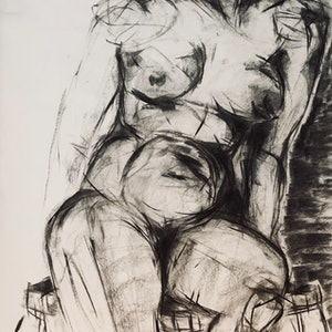 (CreativeWork) Female Seated Life Study in Charcoal 18 Oct 2018, Ref-1019 by Phil Schulz. drawing. Shop online at Bluethumb.
