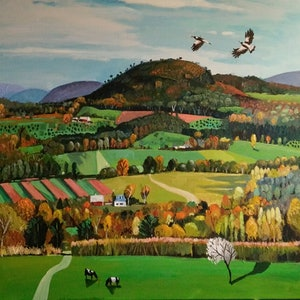 (CreativeWork) Valley Green by Susan Trudinger. arcylic-painting. Shop online at Bluethumb.