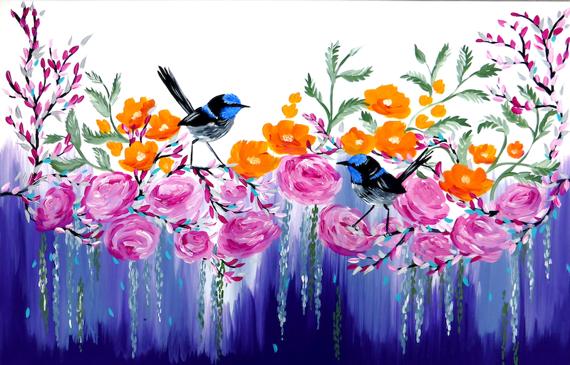 (CreativeWork) Fairy wrens and flowers painted in vibrant colours on a large canvas by Mark Humphries. #<Filter:0x00007f289ca2e100>. Shop online at Bluethumb.