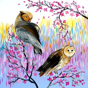 (CreativeWork) Owls - A Huge Painting on a Canvas with Bright Colours by Mark Humphries. #<Filter:0x00007f28c579aa00>. Shop online at Bluethumb.