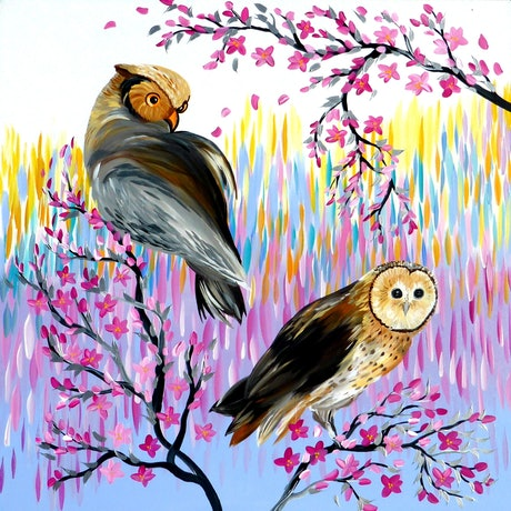 (CreativeWork) Owls - A Huge Painting on a Canvas with Bright Colours by Mark Humphries. Acrylic Paint. Shop online at Bluethumb.