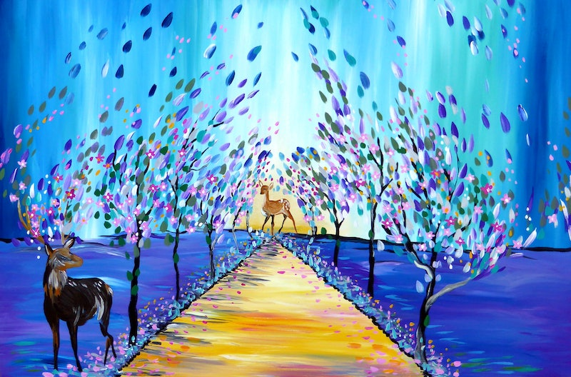 Deer In A Forest A Large Canvas Painting On Sale By Mark