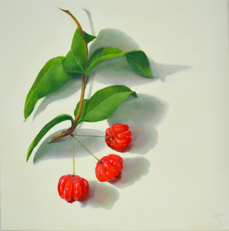 (CreativeWork) Bush Cherries by Glenn McLeod Leaity. Oil Paint. Shop online at Bluethumb.