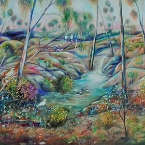 (CreativeWork) Meeting place by Joanne Scriha. oil-painting. Shop online at Bluethumb.