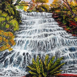 (CreativeWork) Katoomba Waterfall, Blue Mountains by Linda Callaghan. arcylic-painting. Shop online at Bluethumb.