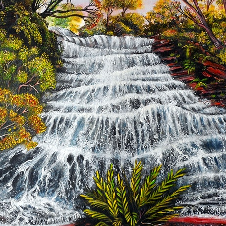 (CreativeWork) Katoomba Waterfall, Blue Mountains (Reduced from $490) by Linda Callaghan. Acrylic Paint. Shop online at Bluethumb.