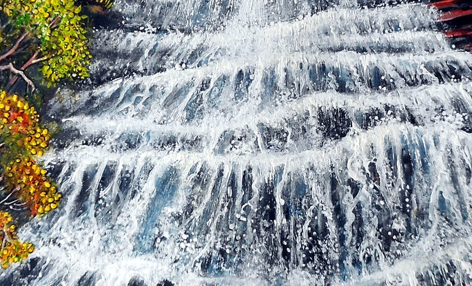 (CreativeWork) Katoomba Waterfall, Blue Mountains by Linda Callaghan. Acrylic Paint. Shop online at Bluethumb.