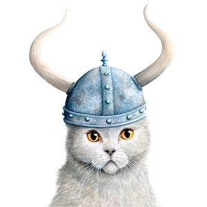 "(CreativeWork) ""Brave"", Viking Cat Series, 2018 by Katherine Appleby. #<Filter:0x000055c877729760>. Shop online at Bluethumb."