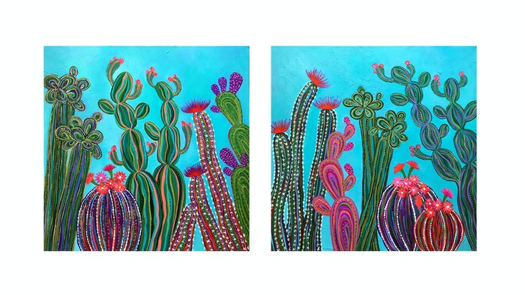 (CreativeWork) Cactus Party Diptych (Set of 2) by Lisa Frances Judd. Acrylic Paint. Shop online at Bluethumb.