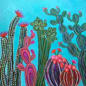 (CreativeWork) Cactus Party Diptych (Set of 2) by Lisa Frances Judd. acrylic-painting. Shop online at Bluethumb.