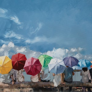 (CreativeWork) Colourful Umbrellas - Limited Edition Giclee Art Print    Ed. 3 of 100 by Claire McCall. print. Shop online at Bluethumb.